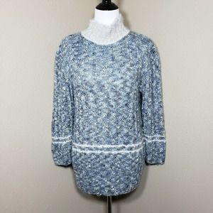 Vtg 80's Hand Knit Chunky Sweater Blue Yellow